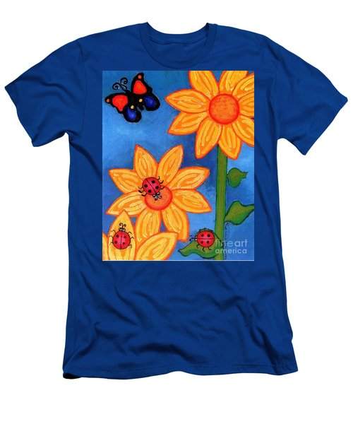 Three Ladybugs And Butterfly Men's T-Shirt (Slim Fit) by Genevieve Esson
