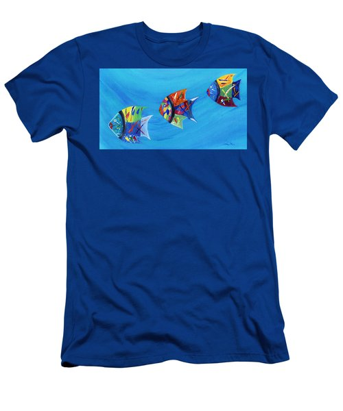 Men's T-Shirt (Athletic Fit) featuring the painting Three Little Fishy's by Jamie Frier