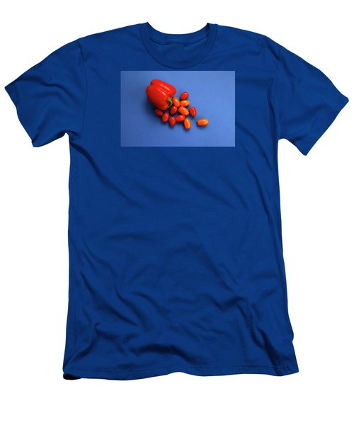 Tomatoes And Capsicum On Blue Men's T-Shirt (Athletic Fit)