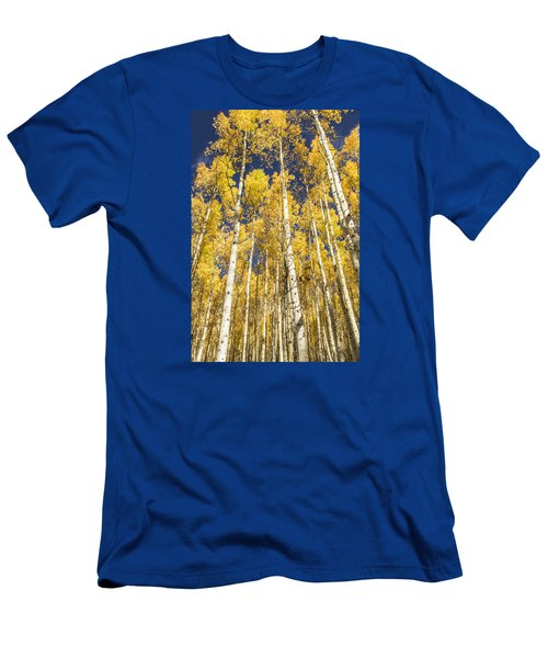 Men's T-Shirt (Slim Fit) featuring the photograph Towering Aspens by Phyllis Peterson