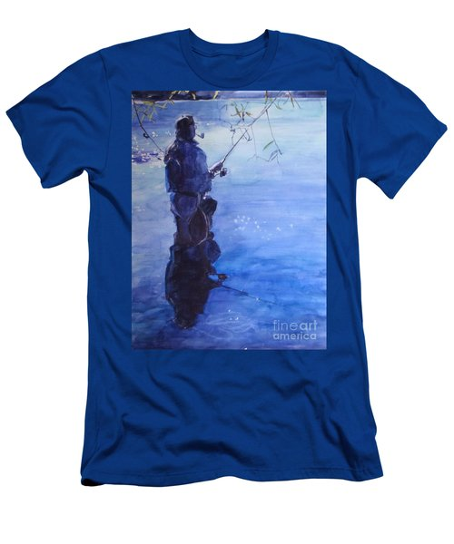 Watercolor Tranquil Fishing Men's T-Shirt (Athletic Fit)