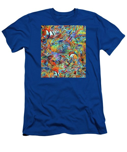 Men's T-Shirt (Athletic Fit) featuring the painting Tropical Beach Art - Under The Sea - Sharon Cummings by Sharon Cummings