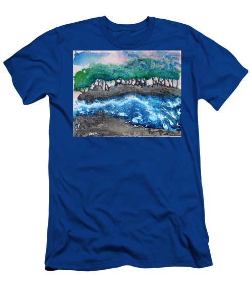 Men's T-Shirt (Slim Fit) featuring the painting Turbulent Waters by Antonio Romero