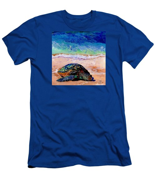 Men's T-Shirt (Slim Fit) featuring the painting Turtle At Poipu Beach 9 by Marionette Taboniar