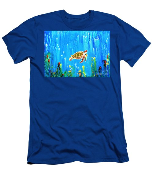 Underwater Magic 5-happy Turtle Men's T-Shirt (Athletic Fit)
