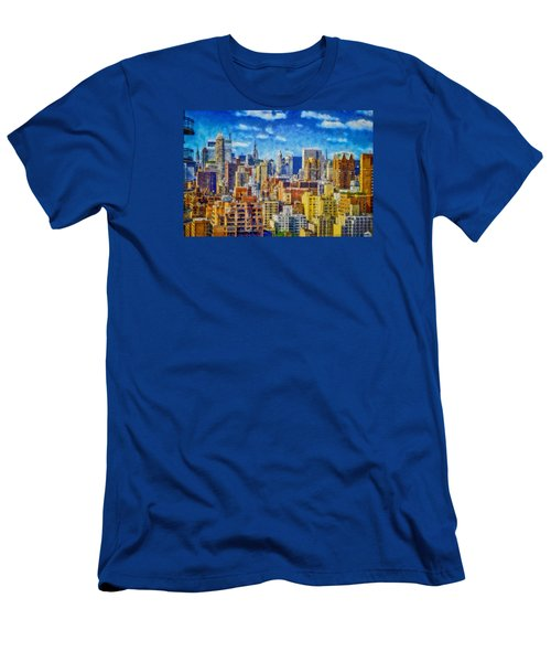 Men's T-Shirt (Slim Fit) featuring the digital art Upper Eastside Skyline by Kai Saarto