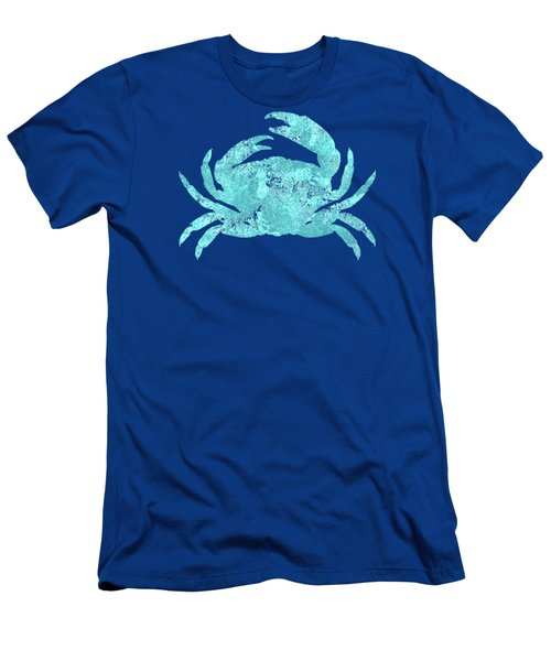Vibrant Blue Crab Beach House Coastal Art Men's T-Shirt (Athletic Fit)