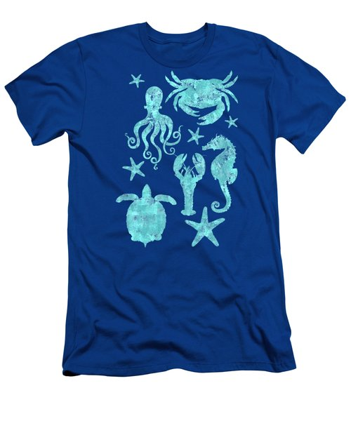 Vibrant Marine Life Beach House Coastal Art Men's T-Shirt (Athletic Fit)