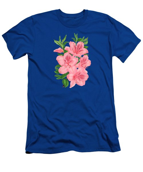 Victorian Pink Flowers On Navy Men's T-Shirt (Athletic Fit)