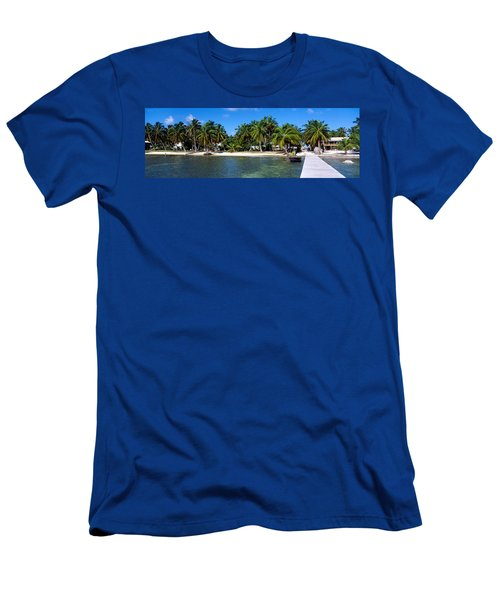 View Of Beachfront From Pier, Caye Men's T-Shirt (Athletic Fit)