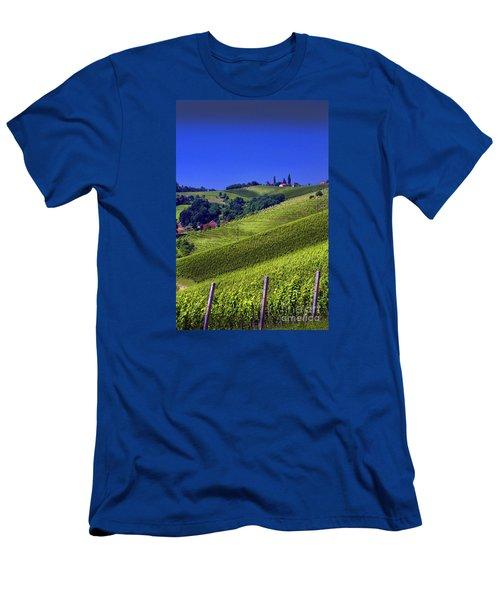 Men's T-Shirt (Slim Fit) featuring the photograph Vineyards Of Jerusalem Slovenia by Graham Hawcroft pixsellpix