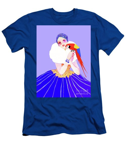 Men's T-Shirt (Athletic Fit) featuring the painting Vintage Dancer With Parrot by Marian Cates