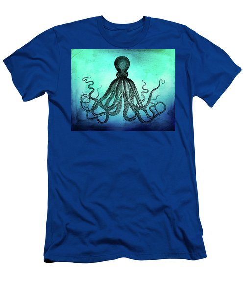 Vintage Octopus On Blue Green Watercolor Men's T-Shirt (Athletic Fit)