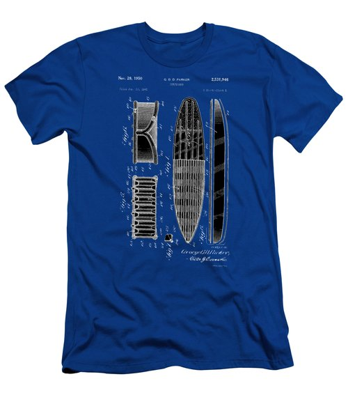 Men's T-Shirt (Slim Fit) featuring the photograph Vintage Surf Board Patent 1950 by Bill Cannon
