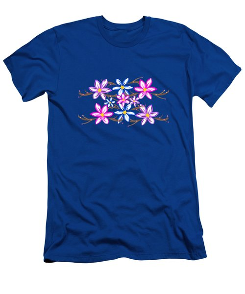 Violet Stripes With Flowers Men's T-Shirt (Athletic Fit)
