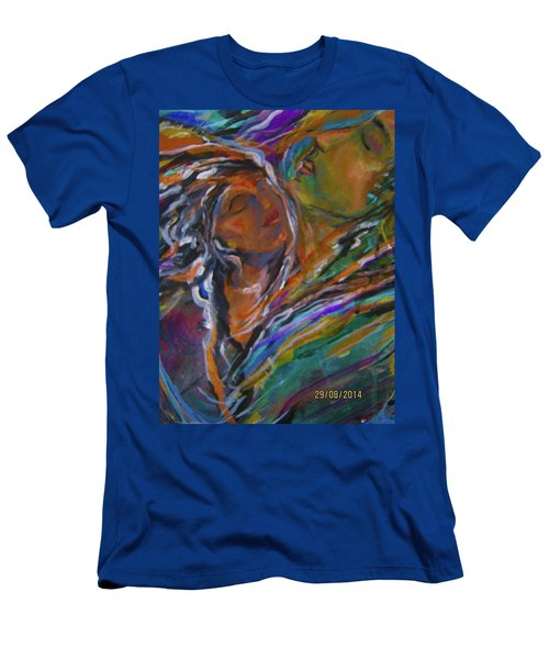 Men's T-Shirt (Slim Fit) featuring the painting Violets And Ordchid by Dawn Fisher