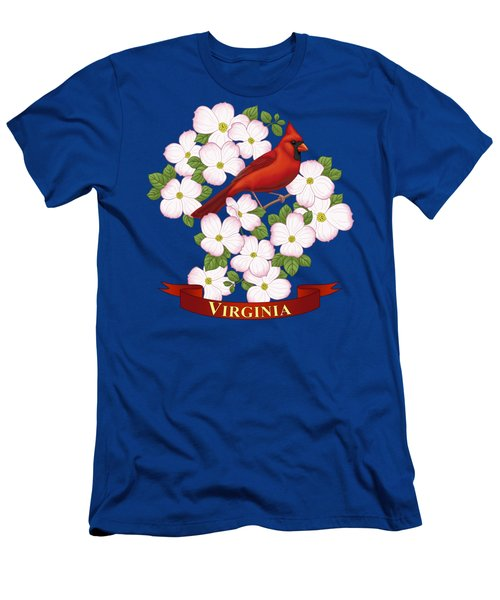 Virginia State Bird Cardinal And Flowering Dogwood Men's T-Shirt (Athletic Fit)