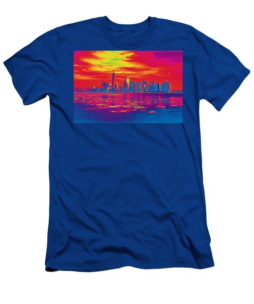 Vivid Skyline Of New York City, United States Men's T-Shirt (Athletic Fit)