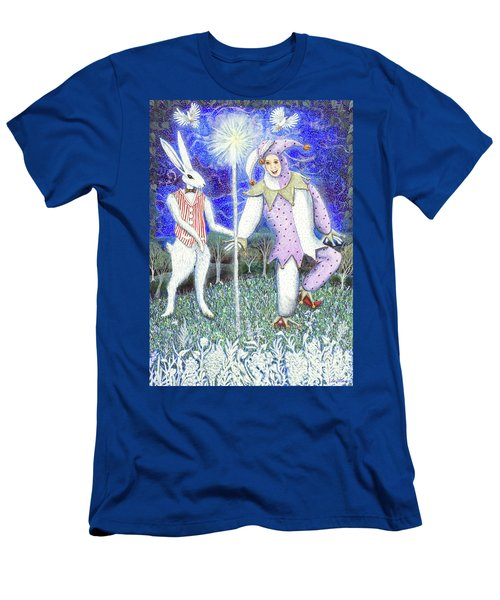 Men's T-Shirt (Athletic Fit) featuring the painting Wand With Magician And Jester by Lise Winne