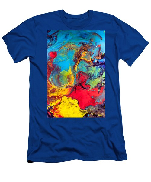 Wanderer - Abstract Colorful Mixed Media Painting Men's T-Shirt (Slim Fit) by Modern Art Prints
