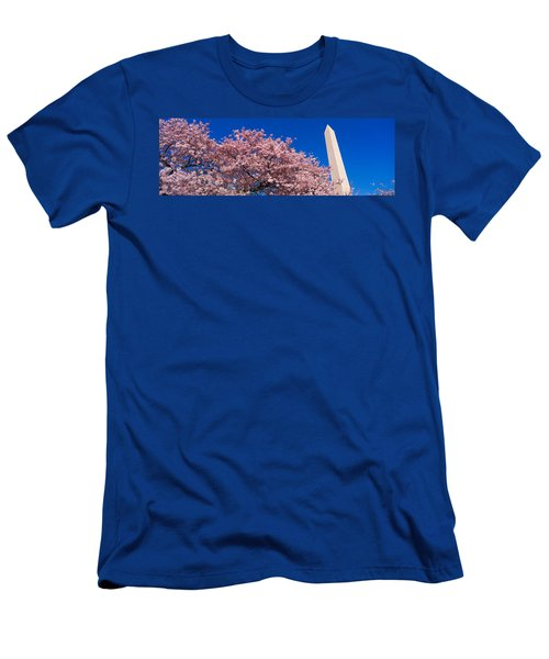 Washington Monument & Spring Cherry Men's T-Shirt (Slim Fit) by Panoramic Images