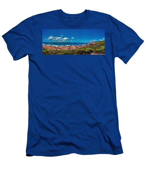 Men's T-Shirt (Slim Fit) featuring the photograph Western Australia Beach Panorama Margaret River by David Zanzinger