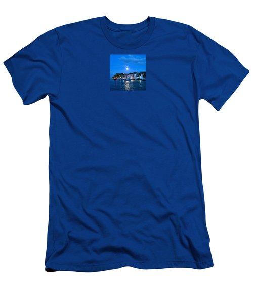 Weymouth Harbour, Full Moon Men's T-Shirt (Slim Fit) by Anne Kotan
