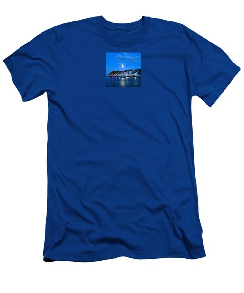 Weymouth Harbour, Full Moon Men's T-Shirt (Athletic Fit)
