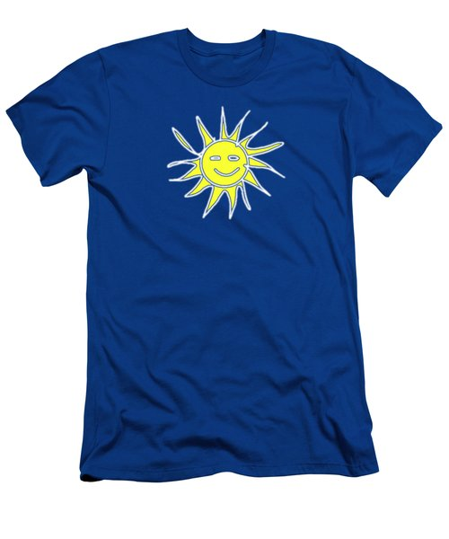 white lines on transparent background - detailv3-10.3.Islands-1-detail-Sun-with-smile Men's T-Shirt (Athletic Fit)
