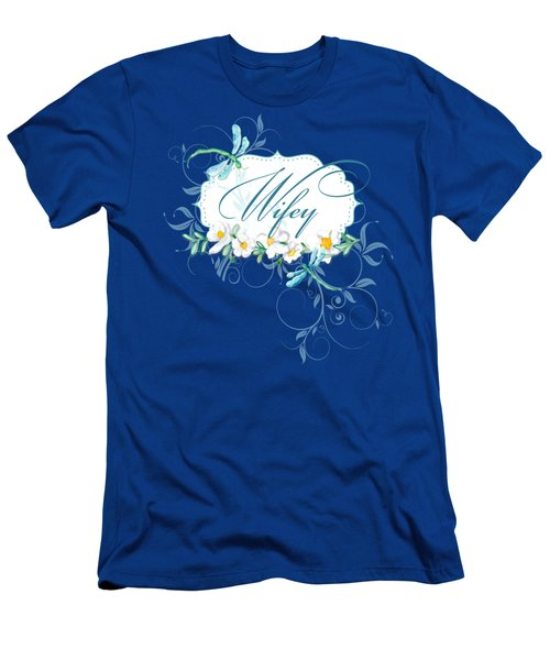 Wifey New Bride Dragonfly W Daisy Flowers N Swirls Men's T-Shirt (Athletic Fit)