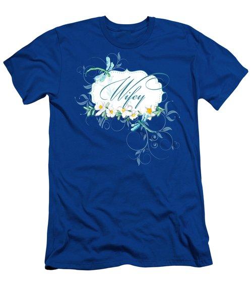 Wifey New Bride Dragonfly W Daisy Flowers N Swirls Men's T-Shirt (Athletic Fit)