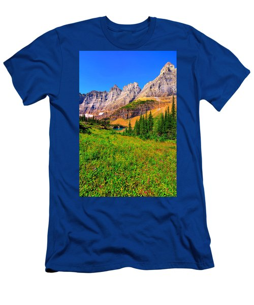 Wildflower Meadow Beneath The Ptarmigan Wall Men's T-Shirt (Slim Fit) by Greg Norrell
