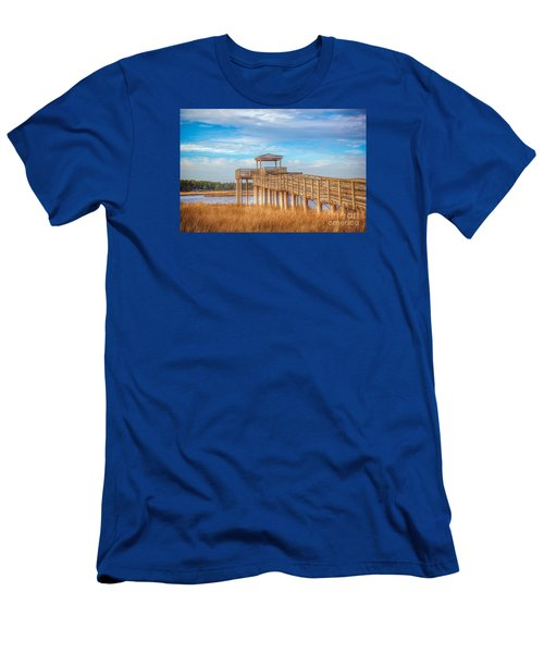 Wildlife Viewing Pier Men's T-Shirt (Slim Fit) by Marion Johnson