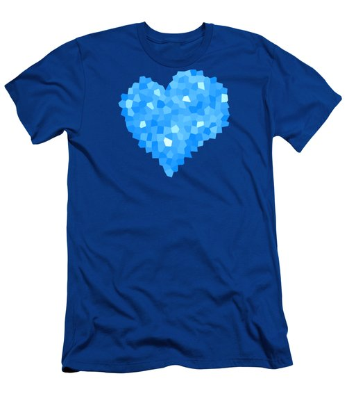 Winter Blue Crystal Heart Men's T-Shirt (Athletic Fit)