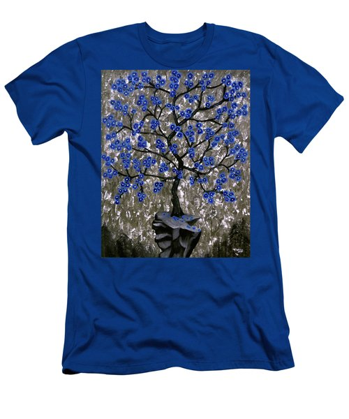 Men's T-Shirt (Slim Fit) featuring the painting Winter Blues by Teresa Wing