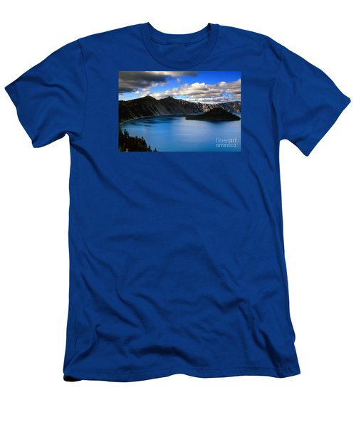 Wizard Island Stormy Sky- Crater Lake Men's T-Shirt (Athletic Fit)