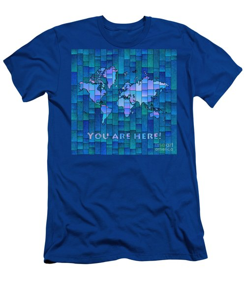 World Map Glasa You Are Here In Blue Men's T-Shirt (Athletic Fit)