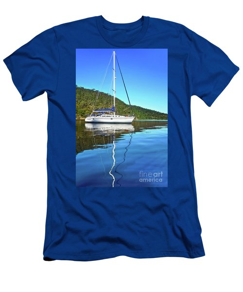 Men's T-Shirt (Athletic Fit) featuring the photograph Yacht Reflecting By Kaye Menner by Kaye Menner
