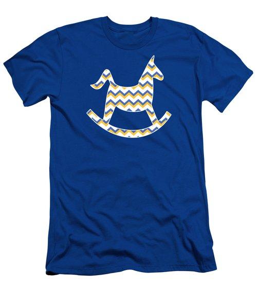 Yellow Blue Chevron Pattern Men's T-Shirt (Athletic Fit)