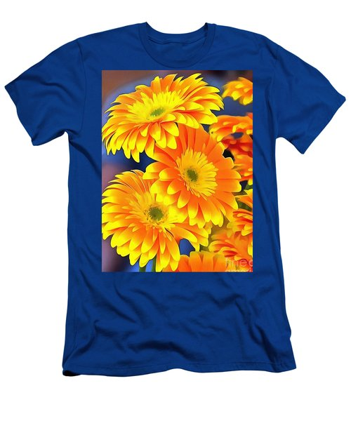 Yellow Flowers In Thick Paint Men's T-Shirt (Athletic Fit)