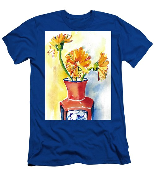 Yellow Gerbera Daisies In A Red And Blue Delft Vase Men's T-Shirt (Athletic Fit)