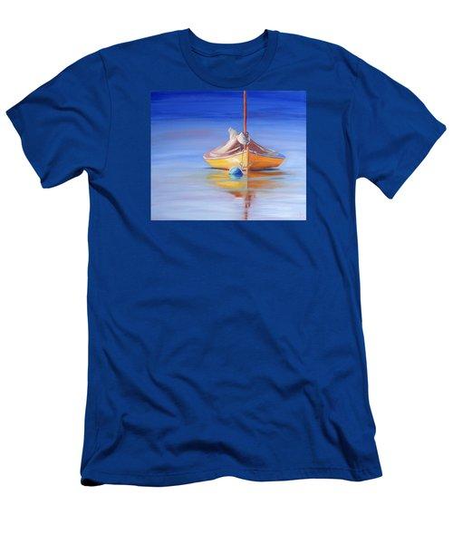 Yellow Hull Sailboat Iv Men's T-Shirt (Slim Fit) by Trina Teele