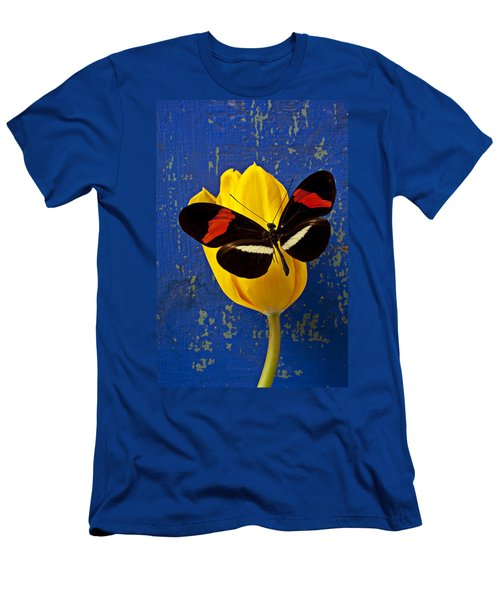 Yellow Tulip With Orange And Black Butterfly Men's T-Shirt (Slim Fit) by Garry Gay