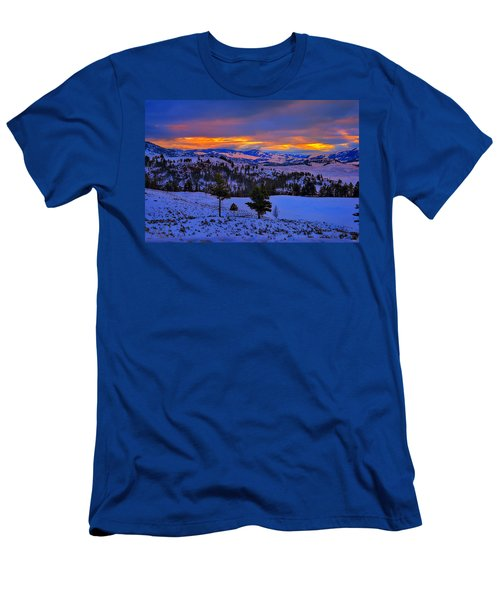 Yellowstone Winter Morning Men's T-Shirt (Slim Fit) by Greg Norrell