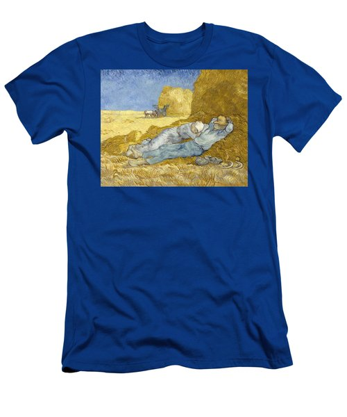 Men's T-Shirt (Athletic Fit) featuring the painting Noon - Rest From Work by Vincent Van Gogh