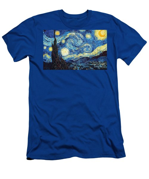 Starry Night By Van Gogh Men's T-Shirt (Athletic Fit)