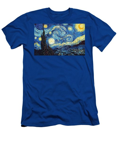 Men's T-Shirt (Athletic Fit) featuring the painting Starry Night By Van Gogh by Vincent Van Gogh