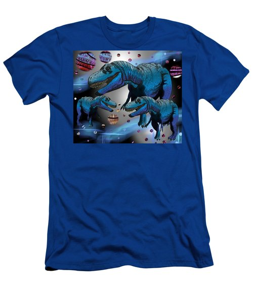 Men's T-Shirt (Athletic Fit) featuring the drawing Tyrannosaurus Three Moons by Joan Stratton