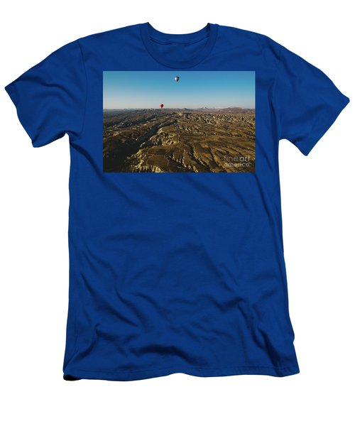 Colorful Balloons Flying Over Mountains And With Blue Sky Men's T-Shirt (Athletic Fit)