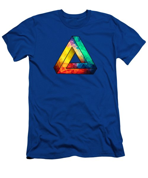 Abstract Polygon Multi Color Cubism Low Poly Triangle Design Men's T-Shirt (Athletic Fit)